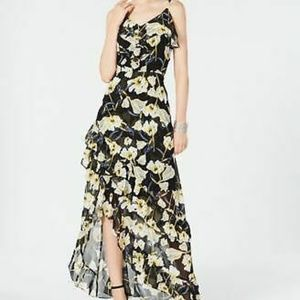 INC Womens Floral-Print Ruffle High-Low Maxi Dress